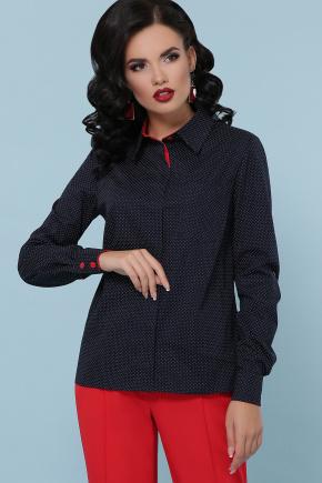 блуза Вендис д/р. Цвет: синий-бел.м.горох-красн