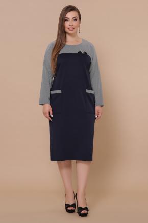 платье Джоси-Б д/р. Цвет: синий-лапка м.черная