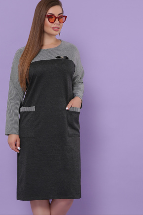 платье Джоси-БФ д/р. Цвет: т.серый-лапка м.черная