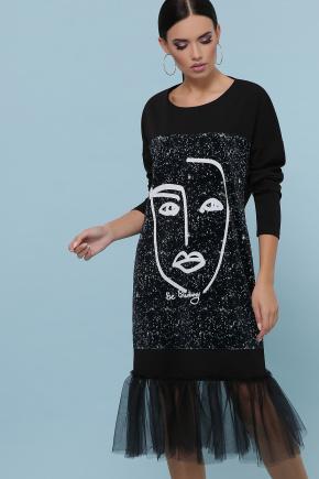 Лицо платье Луиза д/р. Цвет: черный
