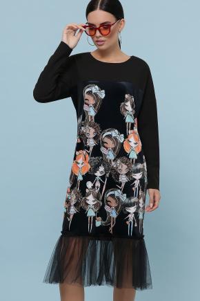 Девочки платье Луиза д/р. Цвет: черный