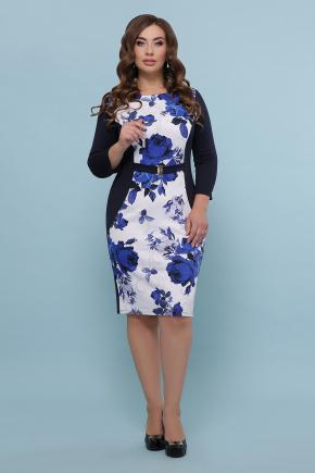 Розы синие платье Джемма-2Б д/р. Цвет: синий
