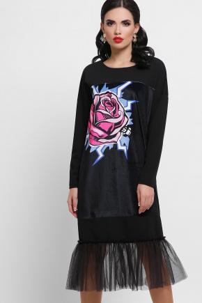Роза платье Луиза д/р. Цвет: черный