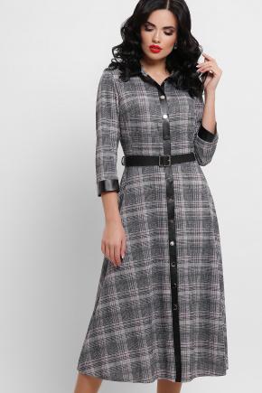 Платье Евдокия д/р. Цвет: клетка черный-розовый