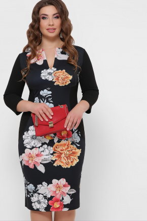 Цветы платье Энже-Б д/р. Цвет: черный