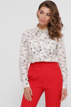 блуза Ванда д/р. Цвет: белый-желтые котики