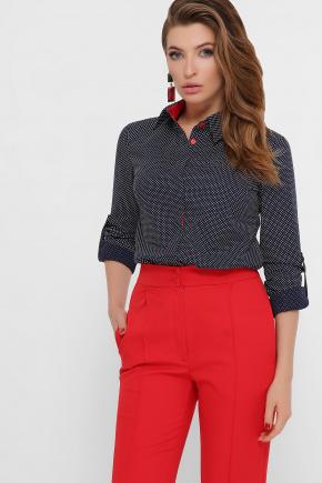 блуза Вендис д/р. Цвет: синий-бел.горох-красн