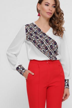 Вышивка блуза Верика д/р. Цвет: белый