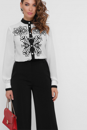 Черный узор блуза Персия д/р. Цвет: белый
