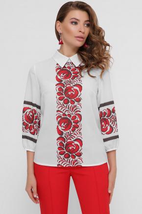 Красные цветы блуза Жули 3/4. Цвет: белый