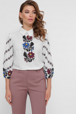 Цветы блуза Жули 3/4. Цвет: белый