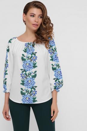 Синие цветы блуза Юния 3/4. Цвет: белый