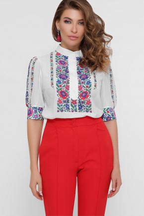 Цветы вышивка блуза Лисанна к/р. Цвет: белый