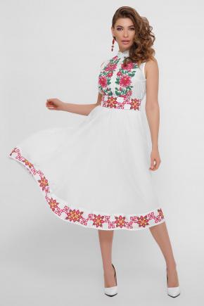 Цветы-орнамент платье Кайли б/р. Цвет: белый