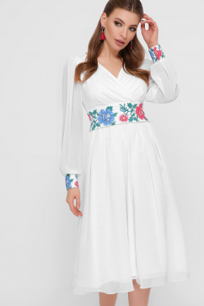 Цветы-орнамент платье Лианна д/р. Цвет: белый