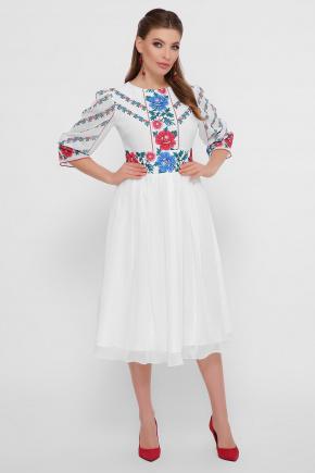 Цветы-орнамент платье Сария 3/4. Цвет: белый