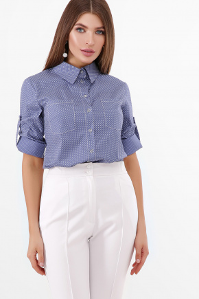 блуза Ванда 3/4. Цвет: джинс-белый м.горох