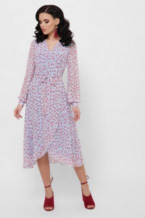 платье Алеста д/р. Цвет: голубой-цветы красн.