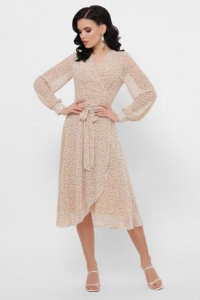 платье Алеста д/р. Цвет: бежевый-цветы м.