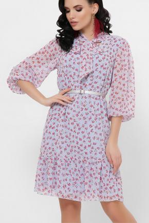 платье Малика д/р. Цвет: голубой-цветы красн.