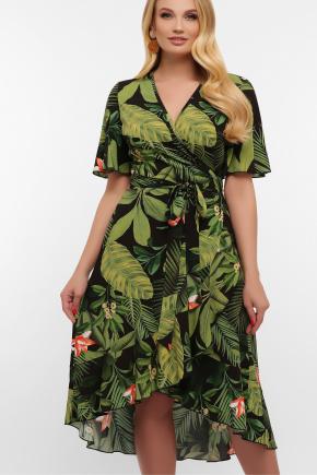 платье Алесия-1Б к/р. Цвет: черный-Тропический лист