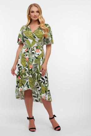 платье Алесия-1Б к/р. Цвет: молоко-Тропический лист
