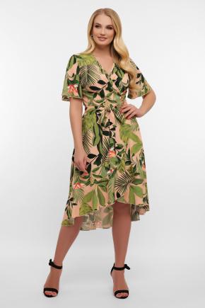 платье Алесия-1Б к/р. Цвет: персик-Тропический лист