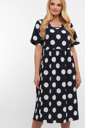 платье Ирма-Б к/р. Цвет: синий-белый горох б.