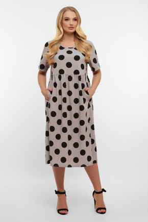 платье Ирма-Б к/р. Цвет: серый-черный горох б.