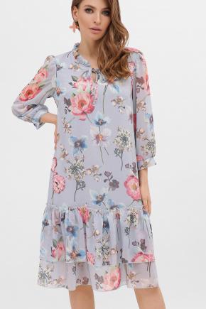 платье Элисон 3/4. Цвет: голубой-цветы б.