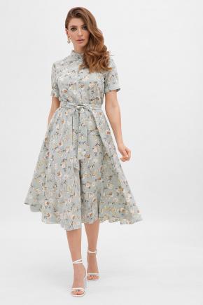 платье Изольда к/р. Цвет: св. голубой- цветы