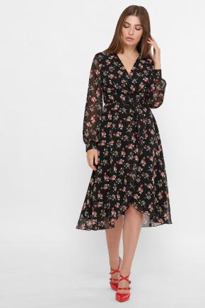 платье Алеста д/р. Цвет: черный-роза красная