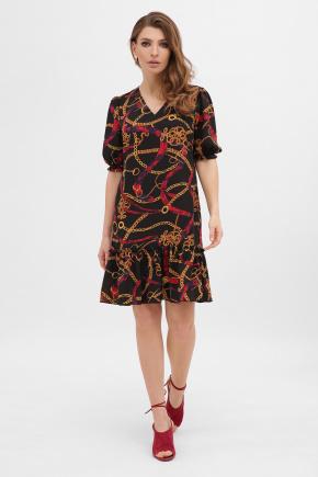 платье Мальвина к/р. Цвет: цепи-ремешки красные