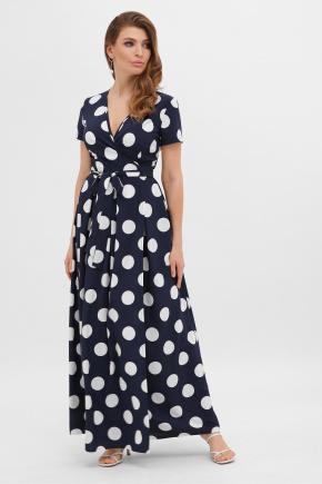 Платье Шайни к/р. Цвет: синий-белый горох б.