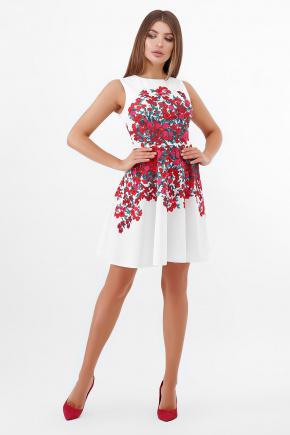 Разноцветные цветы платье Альба б/р. Цвет: белый