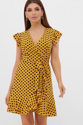 платье София б/р. Цвет: горчица-черный горох с.