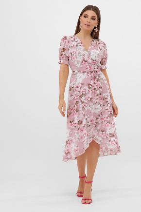 платье Алеста к/р. Цвет: розовый-цветы розов.