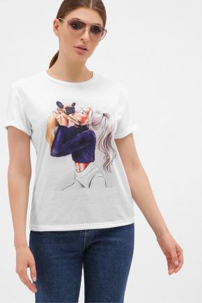 Девушка с собачкой футболка Boy-2. Цвет: белый