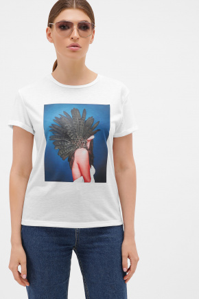 синий-Перья серые футболка Boy-2. Цвет: белый