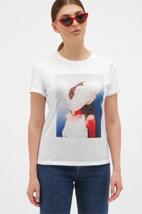 голубой-Перья белые футболка Boy-2. Цвет: белый