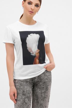 черный-Перья белые футболка Boy-2. Цвет: белый