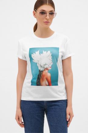 бирюза-Пион белый футболка Boy-2. Цвет: белый