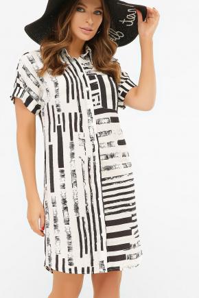платье-рубашка Филена к/р. Цвет: белая-черная полоса
