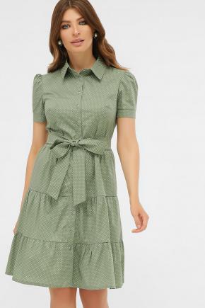 платье Джела к/р. Цвет: оливка-белый м.горох
