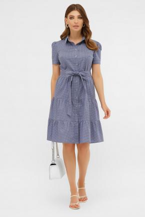 платье Джела к/р. Цвет: джинс-белый м.горох
