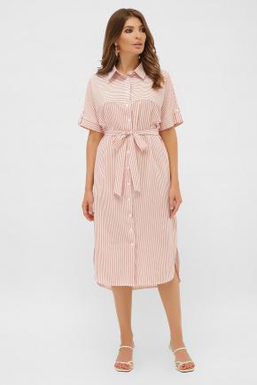 Платье-рубашка Дарья к/р. Цвет: персик-полоска