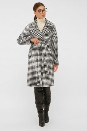 Пальто П-399-100. Цвет: 2433-лапка ч/б