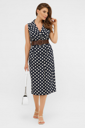 платье Нарина б/р. Цвет: синий - белый горох