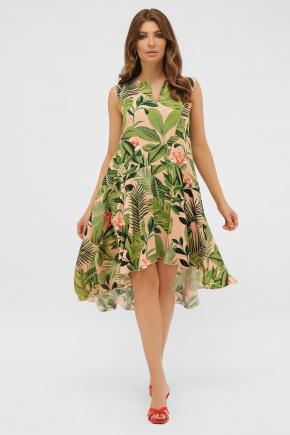 платье Тория б/р. Цвет: персик-Тропический лист