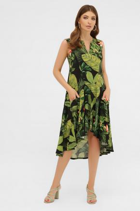 Платье Тория б/р. Цвет: черный-Тропический лист